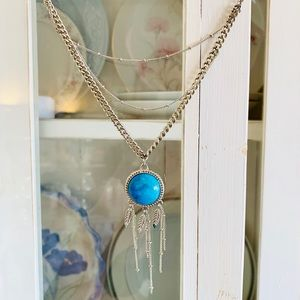 American Eagle Turquoise and Feather Necklace